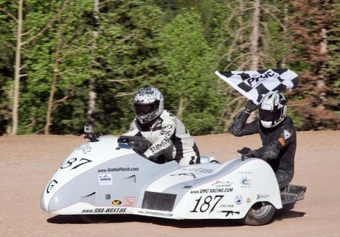 racing sidecar motorcycle victory at Pikes Peak
