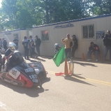 Preparing to set off for the final qualifying session, Team Johnny Killmore's sidecar #187. Photo: Kate Kriebel