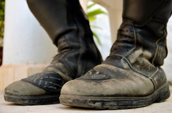 worn motorcycle boots