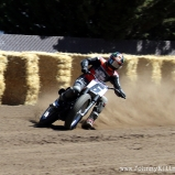 This is my favorite on-track shot of the weekend, with slipshod color editing. Brad Baker was the only rider to make the high line look easy, and he won by over ten seconds to boot. Style. He will ride on the Indian Wrecking Crew next year with Jared Mees and Bryan Smith. Yes, Indian bought the entire podium from this race to ride for them next year.