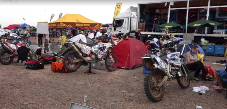 Bivouac for Malle Moto riders at the end of Stage 01, Dakar 2017.