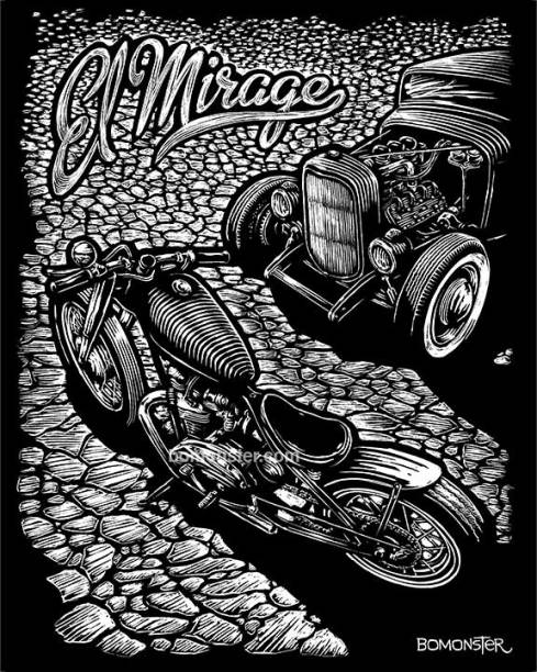 Scratchboard art of a motorcycle and hotrod car on a dry lake bed