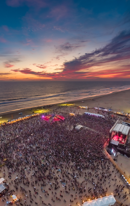 an aerial shot of the surf city blitz Beach concert and motorcyle race