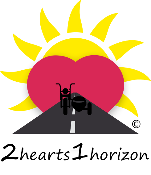 2hearts1horizon logo. Sun, heart, motorcycle sidecar, road, text.