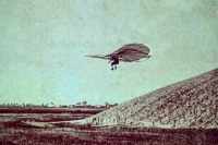 otto lilienthal flies a glider off a hill