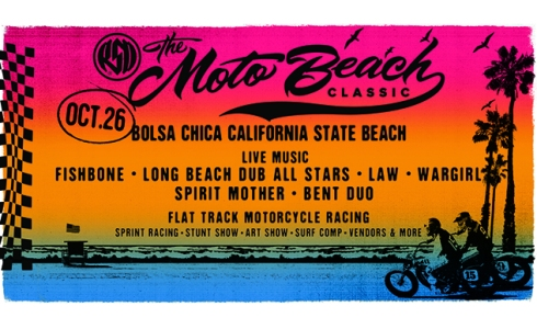 moto beach classic motorcycle race flyer